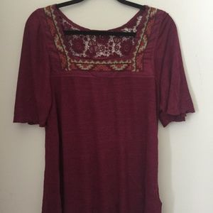 Luck Brand top with flutter sleeves and lace back